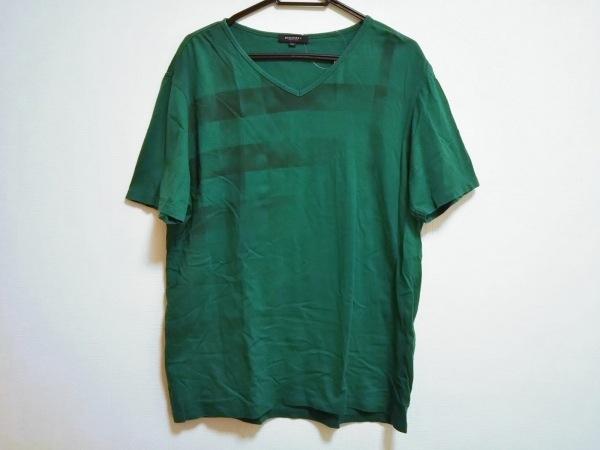 バーバリーロンドン 半袖Tシャツ サイズLL メンズ グリーン×黒 チェック柄
