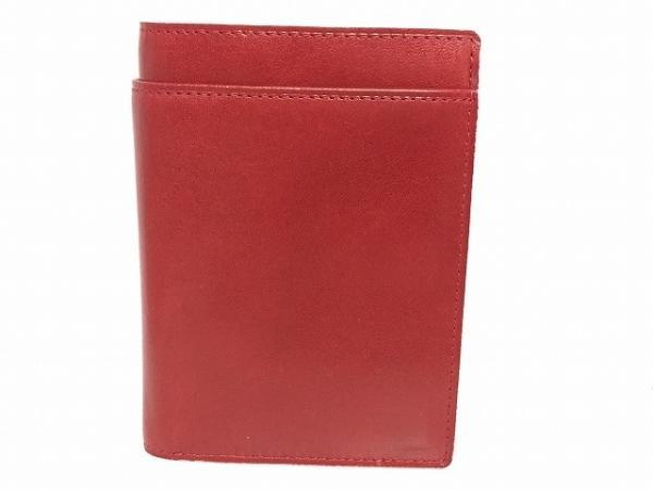 アシュフォード 手帳 レッド×白 コインケース、札入れ、名刺入れ付き レザー