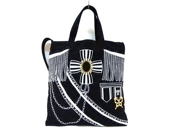 ANNA SUI(アナスイ) トートバッグ美品  黒×シルバー 2way/刺繍 キャンバス