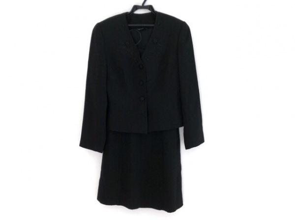 ローラアシュレイ ワンピーススーツ サイズ9 M レディース 黒 フラワー/肩パッド/刺繍