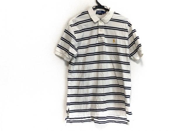 ポロラルフローレン 半袖ポロシャツ サイズM メンズ 白×ダークネイビー