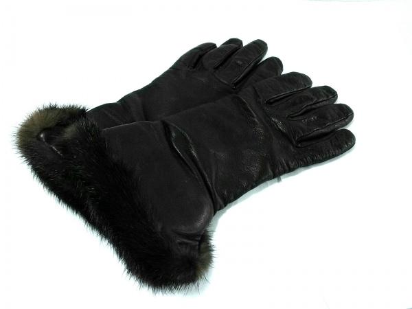 PIUMELLI(ピュメリ) 手袋 レディース ダークブラウン ファー レザー