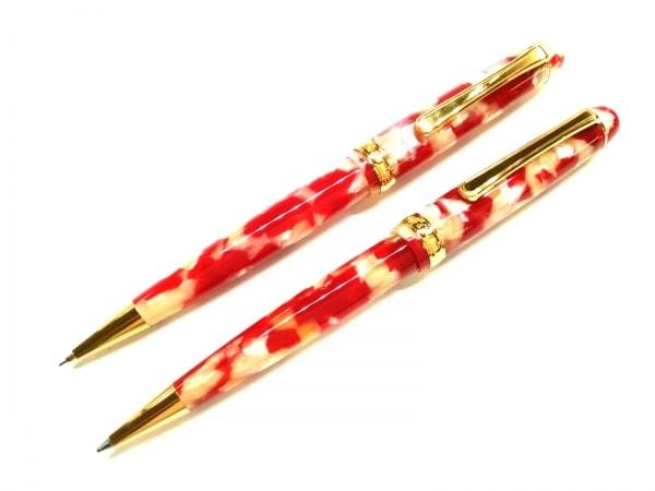 PLATINUM(プラチナ) ペン美品  レッド×ベージュ×ゴールド プラスチック×金属素材