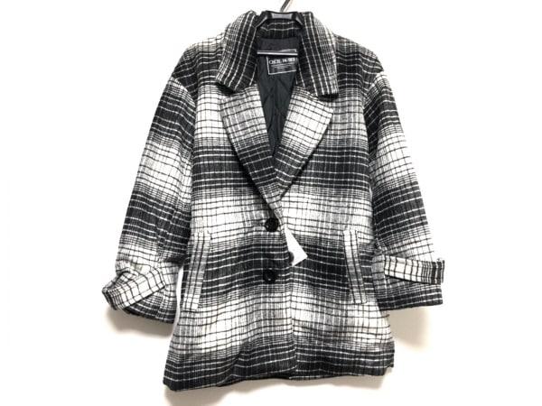 CECILMcBEE(セシルマクビー) コート サイズM レディース美品  黒×白 冬物/チェック柄