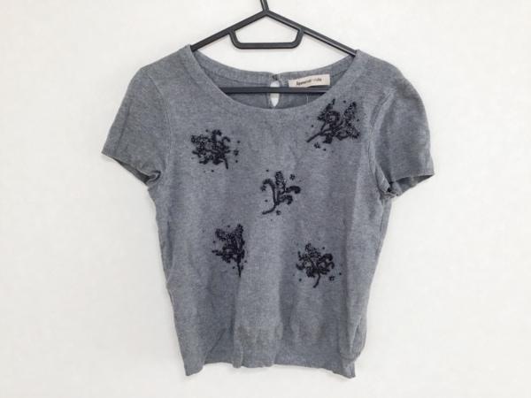 アプワイザーリッシェ 半袖セーター サイズ2 M レディース グレー×黒×クリア