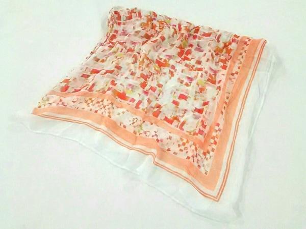 HIROKO KOSHINO(ヒロココシノ) ストール(ショール)美品  白×レッド×マルチ レーヨン