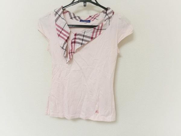 バーバリーブルーレーベル 半袖Tシャツ レディース ピンク×黒×ボルドー チェック柄