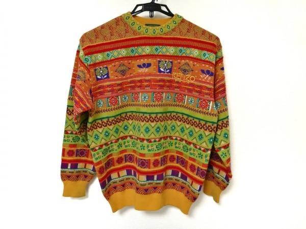 KENZO(ケンゾー) 長袖セーター レディース オレンジ×グリーン×マルチ