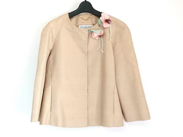 アンナモリナーリ ジャケット サイズ42 M レディース美品  ベージュ ノーカラー