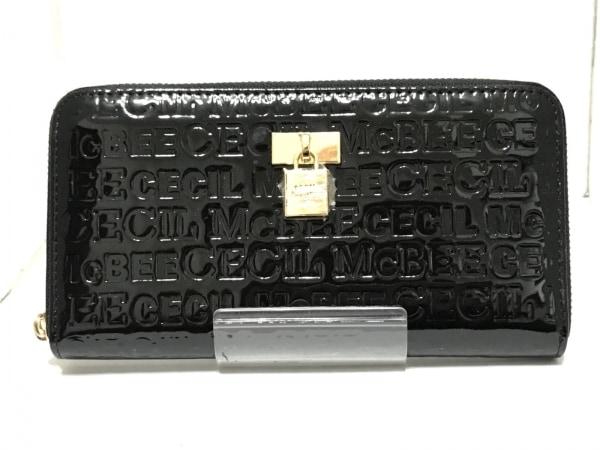 セシルマクビー 長財布 黒 ラウンドファスナー/型押し加工 エナメル(合皮)