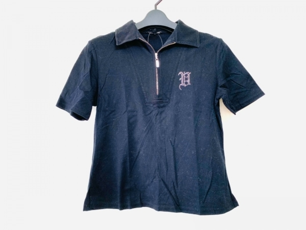 バレンザスポーツ 半袖ポロシャツ サイズ38 M レディース 黒 ラインストーン