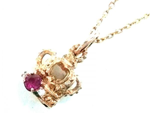 Arpege(アルページュ) ネックレス美品  K10×カラーストーン ピンク×クリア クラウン