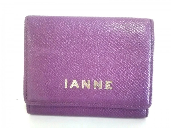 IANNE(イアンヌ) Wホック財布 マカロン パープル 3つ折り レザー