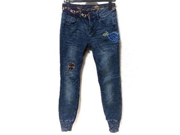 Desigual(デシグアル) ジーンズ サイズ28 L レディース美品  ブルー×マルチ 刺繍