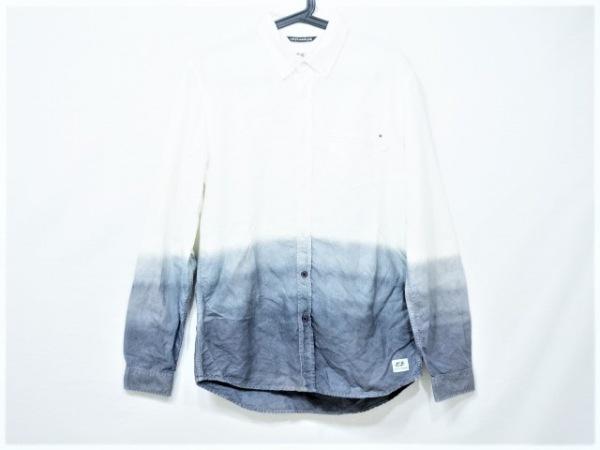DIESEL(ディーゼル) 長袖シャツ サイズM メンズ美品  白×ブルー×ネイビー