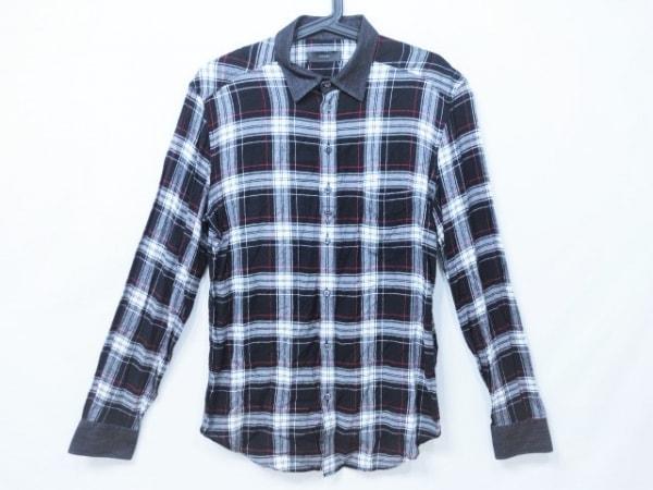 DIESEL(ディーゼル) 長袖シャツ メンズ 黒×ライトグレー×白×レッド チェック柄