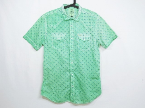 DIESEL(ディーゼル) 半袖シャツ サイズM メンズ ライトグリーン×グリーン×ブルー