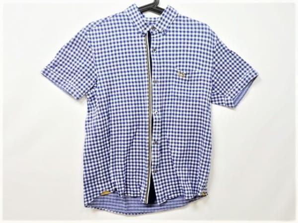 フレッドペリー 半袖シャツ サイズM メンズ美品  ブルー×白×ブラウン チェック柄