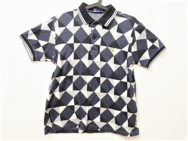 フレッドペリー 半袖ポロシャツ サイズM メンズ ネイビー×黒×ライトグレー×グレー