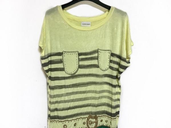 ツモリチサト ノースリーブTシャツ サイズ2 M レディース イエロー×グリーン×マルチ