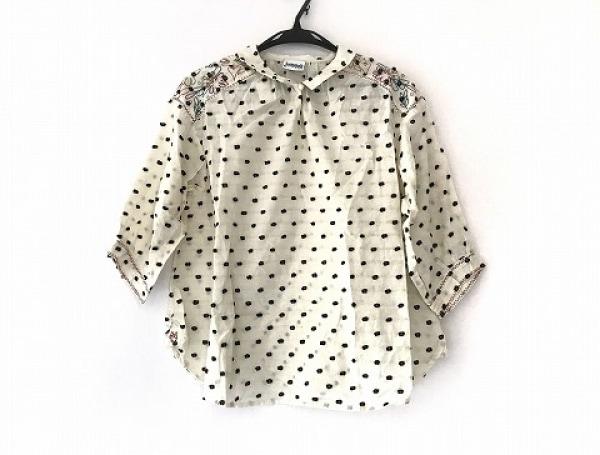 ホコモモラ 七分袖カットソー サイズ40 XL レディース美品  アイボリー×黒×マルチ