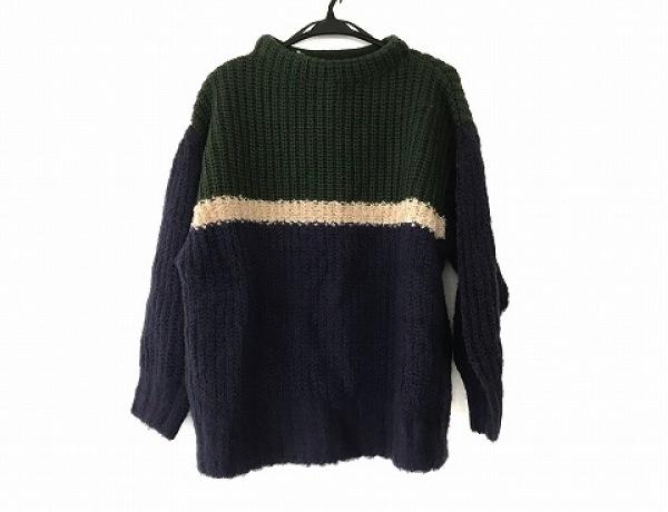 ホコモモラ 長袖セーター サイズ40 XL レディース ネイビー×グリーン×ベージュ