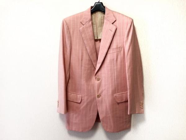 ブリオーニ ジャケット サイズ46 XL レディース美品  ピンク×アイボリー ストライプ