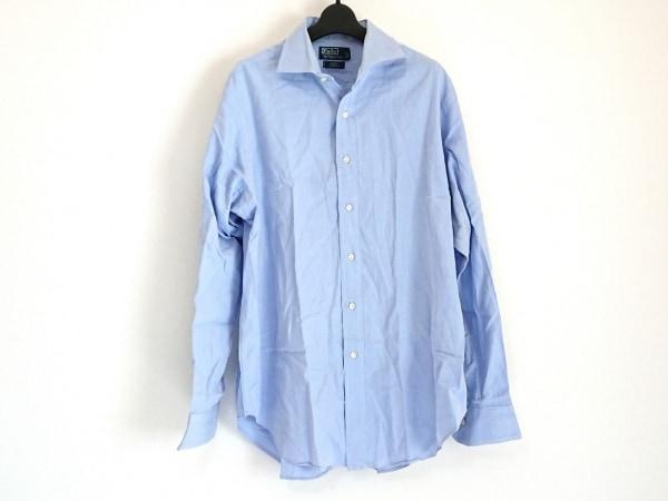 ポロラルフローレン 長袖シャツ サイズ16 メンズ美品  ライトブルー ストライプ