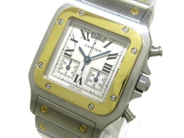 カルティエ 腕時計 サントスガルベクロノリフレックスLM W20042C4 メンズ アイボリー