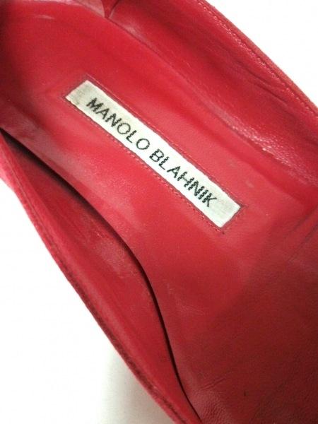 MANOLO BLAHNIK(マノロブラニク) フラットシューズ 36 レディース レッド スエード