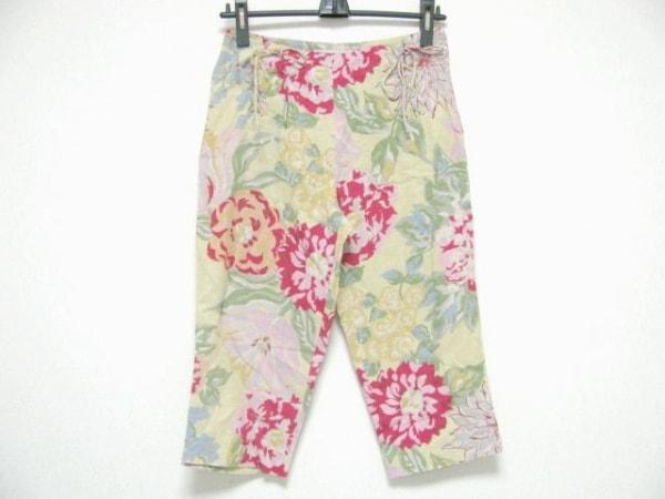 ケイタマルヤマ パンツ サイズ1 S レディース カーキ×ピンク×マルチ 花柄