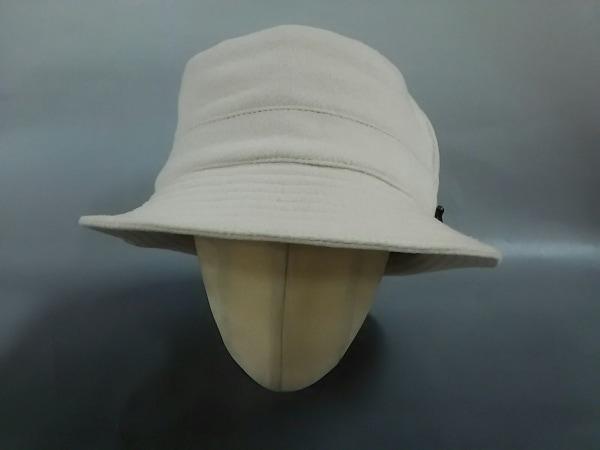 モッチ エルメス 帽子 59新品同様  アイボリー×ダークブラウン カシミヤ×レザー
