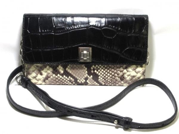 マイケルコース 財布美品  黒×ベージュ×ダークブラウン 型押し加工/パイソン柄