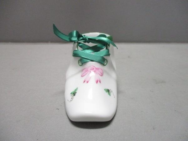 Herend(ヘレンド) 小物美品  白×グリーン×マルチ 置物/靴モチーフ//花柄 陶器