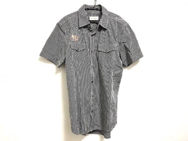 DIESEL(ディーゼル) 半袖シャツ サイズS メンズ 黒×白 チェック柄