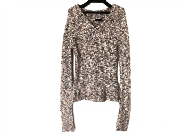 ニジュウサンク 長袖セーター サイズ38 M レディース ベージュ×パープル×マルチ