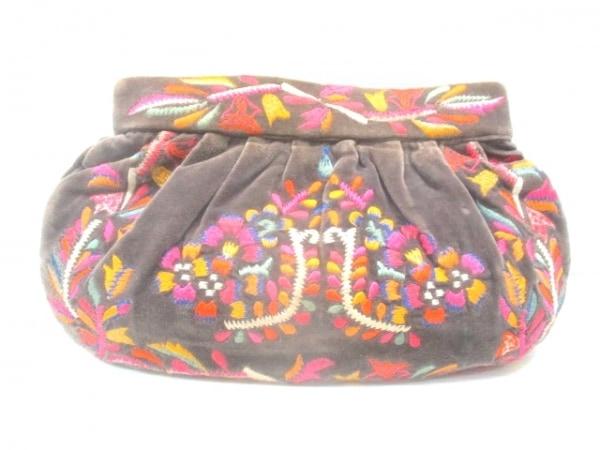 MOYNA(モイナ) クラッチバッグ ダークブラウン×ピンク×マルチ 刺繍 パイル