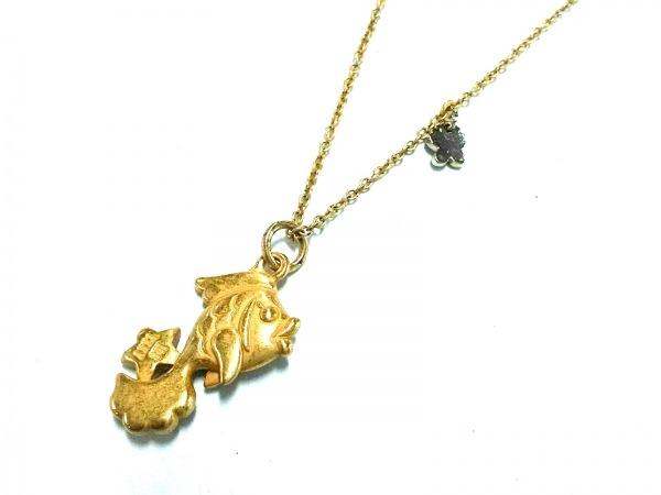 アナスイ ネックレス美品  金属素材 ゴールド×ライトグリーン ラインストーン