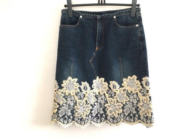 リュウゾウ ナカタ スカート サイズ40 M レディース美品  ネイビー×アイボリー
