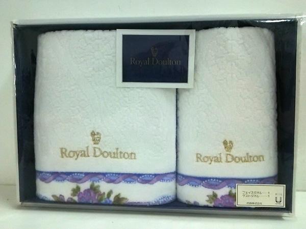 ROYAL DOULTON(ロイヤルドルトン) 小物新品同様  白×ゴールド×マルチ コットン