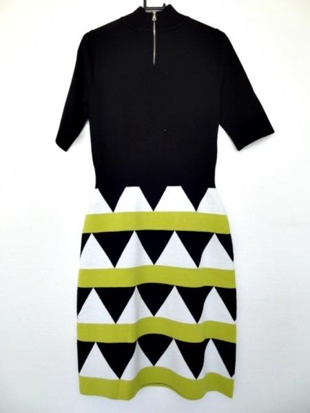 ミリー ワンピース サイズS レディース 黒×白×ライトグリーン ニット/ハイネック