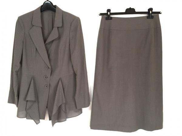 ヒロココシノ スカートスーツ サイズ40 M レディース グレー×ダークグレー