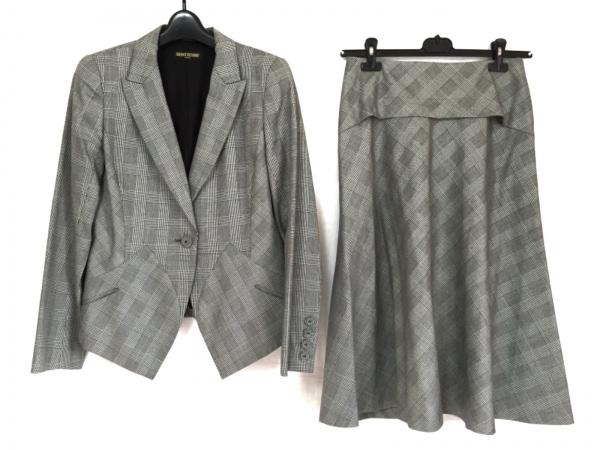 ヒロココシノ スカートスーツ サイズ40 M レディース 黒×ライトグレー チェック柄