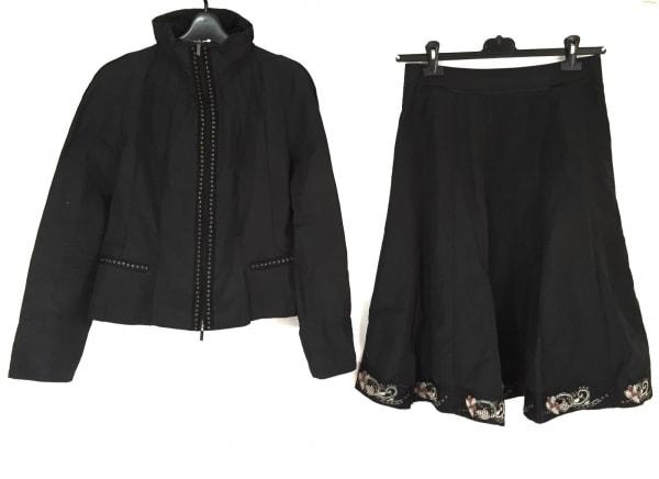 ヒロココシノ スカートセットアップ サイズ40 M レディース 黒×マルチ 刺繍/ラメ