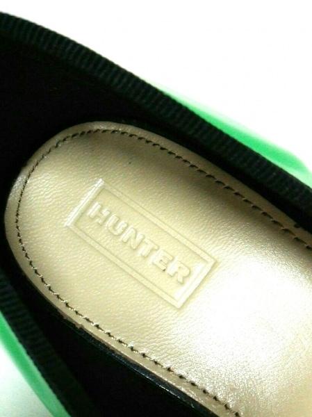 HUNTER(ハンター) フラットシューズ 5 38 7 レディース美品  グリーン×黒 ラバー