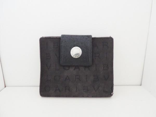 BVLGARI(ブルガリ) Wホック財布 ロゴマニア 黒 ジャガード×レザー