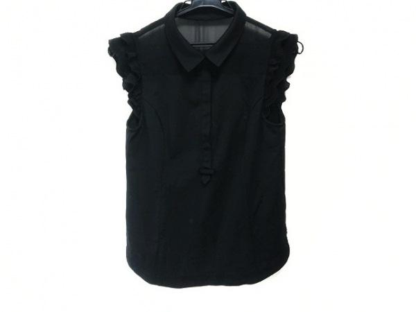 エポカ ノースリーブポロシャツ サイズ40 M レディース新品同様  黒 フリル/プリーツ