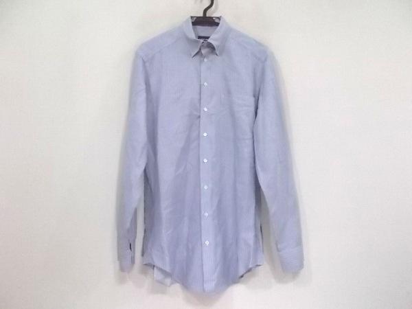 ジョルジオアルマーニ 長袖シャツ サイズ38 M メンズ美品  ライトブルー×白