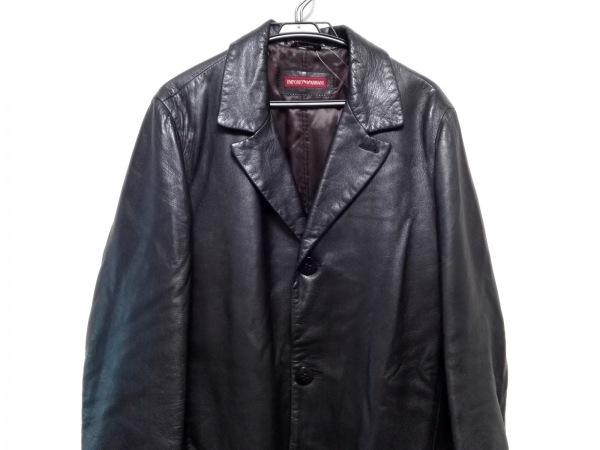 EMPORIOARMANI(エンポリオアルマーニ) コート サイズ46 S メンズ 黒 レザー/冬物