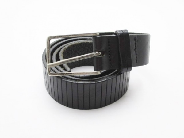 アニエスベー ベルト 85 黒×シルバー 型押し加工 エナメル(レザー)×金属素材
